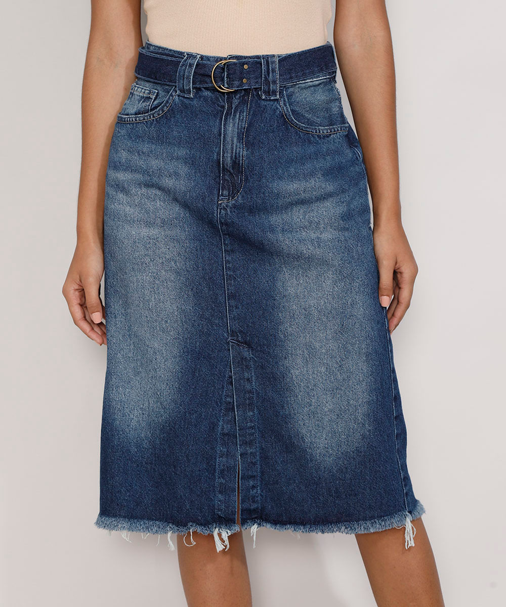 Saia Jeans Feminina Midi com Fenda e Cinto Azul Escuro