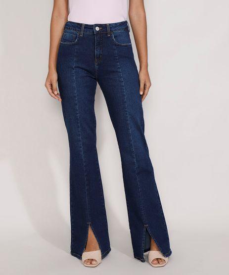 Calca-Jeans-Feminina-Flare-Cintura-Super-Alta-com-Fenda-Azul-Escuro-9985799-Azul_Escuro_1