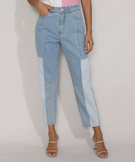 Calca-Jeans-Feminina-Mom-Cintura-Super-Alta-com-Recortes-Azul-Claro-9985618-Azul_Claro_1
