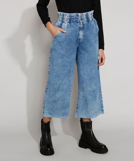 Calca-Jeans-Feminina-Pantacourt-Cintura-Super-Alta-com-Barra-a-Fio-Azul-Claro-9985804-Azul_Claro_1