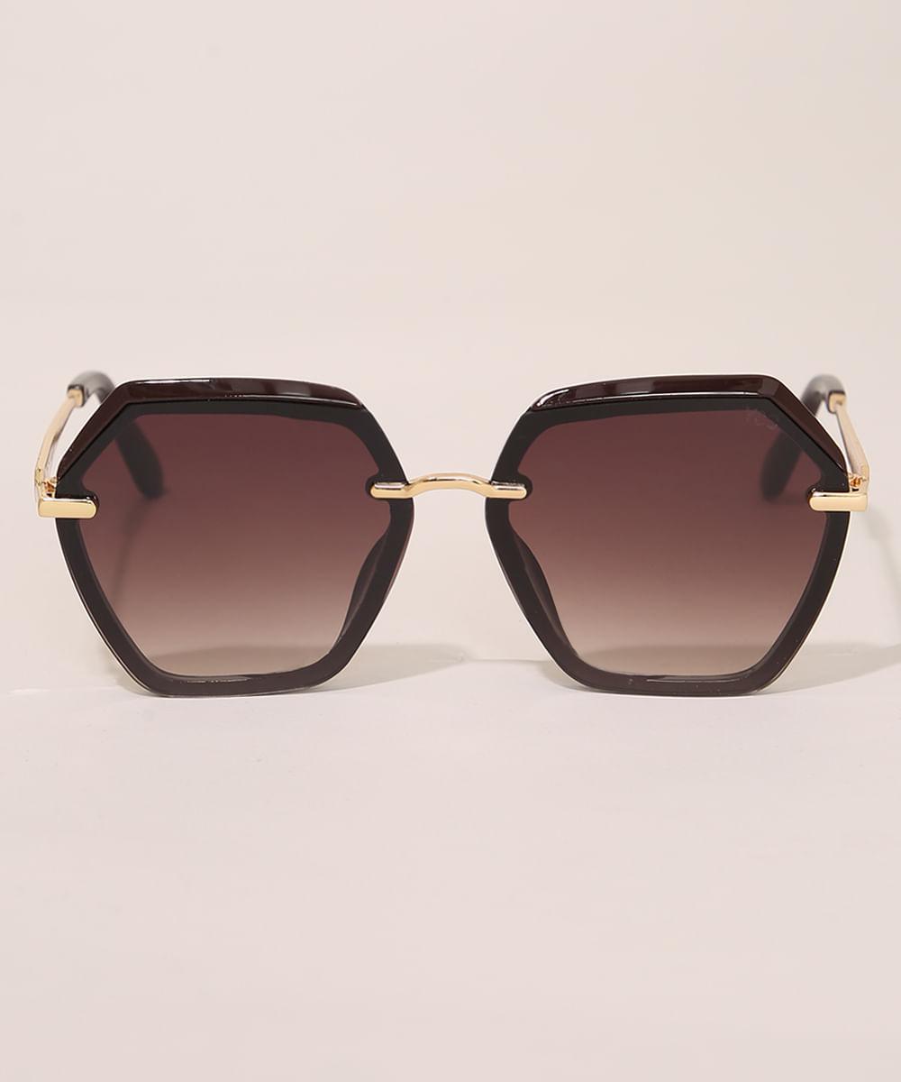 Óculos de Sol Feminino Geométrico Yessica Marrom