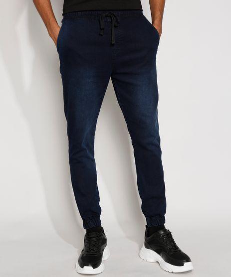 Calca-Jeans-Masculina-Skinny-Jogger-com-Bolsos-Azul-Escuro-9975234-Azul_Escuro_1
