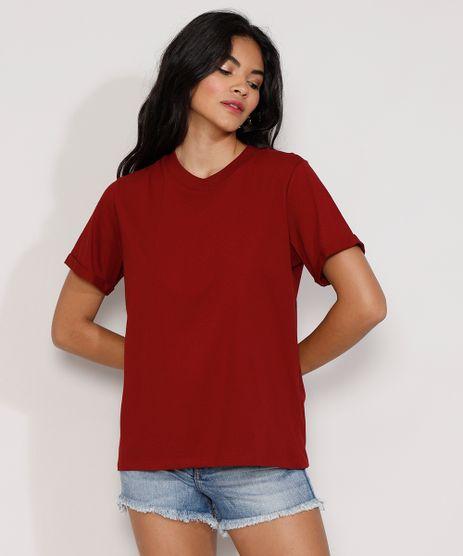 Camiseta-Feminina-Manga-Curta-Basica-Ampla-Decote-Redondo-Vermelha-Escuro-9980091-Vermelho_Escuro_1