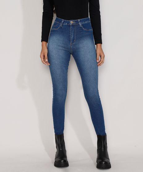 Calca-Jeans-Feminina-Cintura-Alta-Sawary-Cigarrete-Push-Up-com-Barra-Degrau-Azul-Escuro-9984358-Azul_Escuro_1