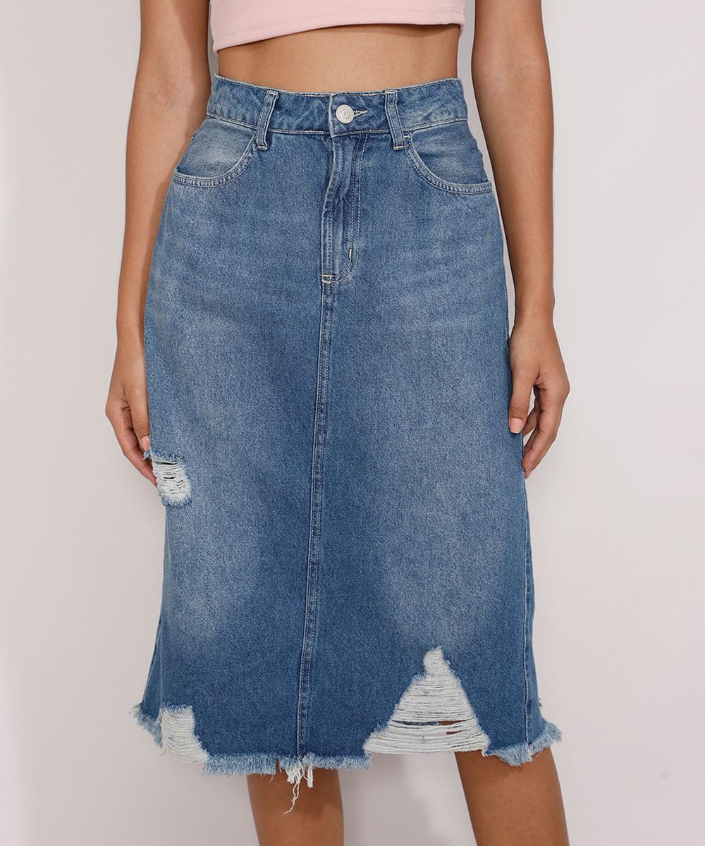 Saia Jeans Feminina Midi com Barra Destroyed Azul Médio