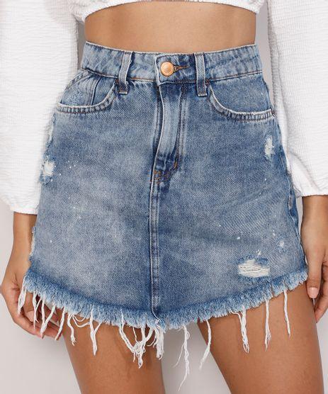 Saia-Jeans-Feminina-Curta-Destroyed-Marmorizada-com-Respingos-e-Barra-Desfiada-Azul-Medio-9985896-Azul_Medio_1