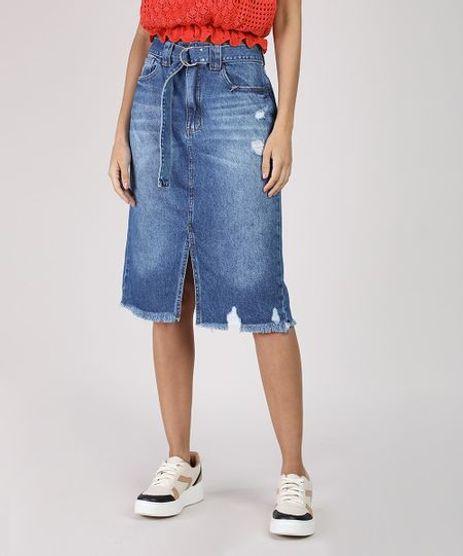 Saia-Jeans-Feminina-Midi-com-Cinto-Barra-Destroyed-Azul-Medio-9932229-Azul_Medio_1