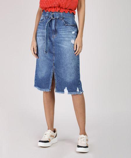 Saia Jeans Feminina Midi com Cinto Barra Destroyed Azul Médio