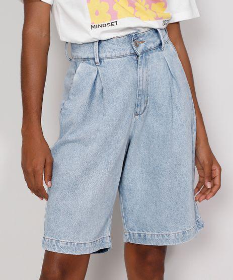 Bermuda-Jeans-Feminina-Mindset-Cintura-Alta-com-Pregas-Azul-Claro-9991000-Azul_Claro_1
