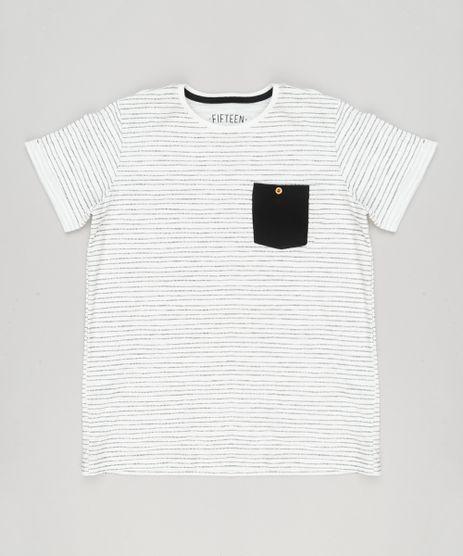 Camiseta-Infantil-Listrada-com-Bolso-Manga-Curta-Gola-Careca-em-Algodao---Sustentavel-Off-White-9137758-Off_White_1