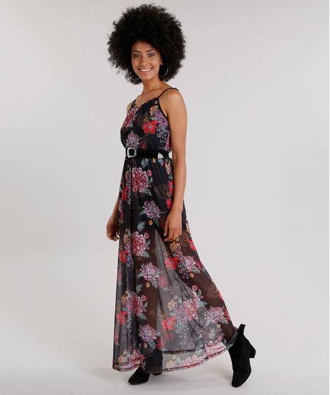 2a5e3a721 Vestido Feminino Longo Estampado Floral em Tule de Alça Fina Preto - cea