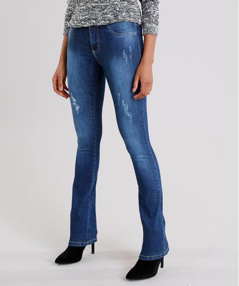bbd95178ea Calça Jeans Feminina Flare Sawary Cintura Alta Azul Escuro - cea