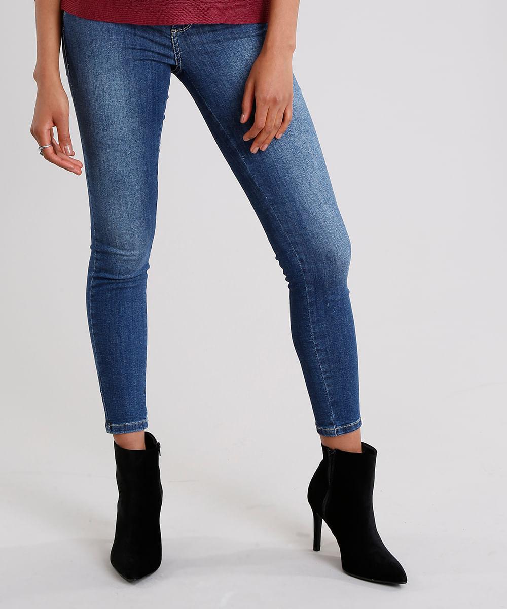 609309b31 Calça Jeans Feminina Super Skinny Modela Bumbum Sawary com Strass Azul  Escuro
