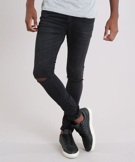 Calca-Jeans-Masculina-Super-Skinny-Cropped-em-Algodao---Sustentavel-Preta-9108173-Preto_1