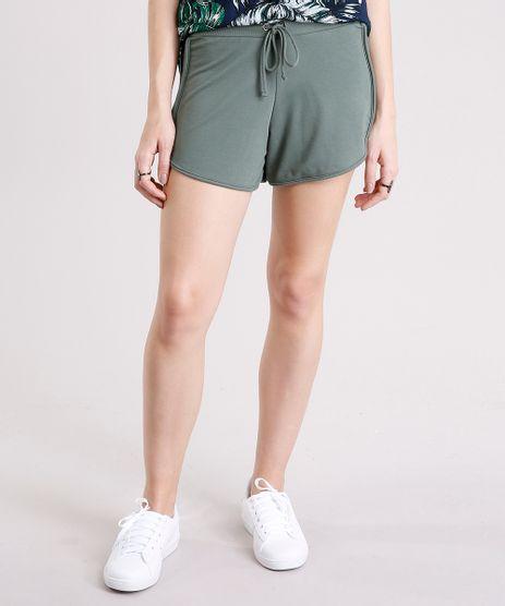 Short-Feminino-Running-Esportivo-Basico-em-Moletom-Verde-Militar-8793882-Verde_Militar_1