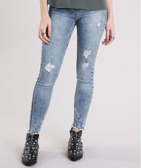 a45e66917 Calca-Jeans-Feminina-Cigarrete-Marmorizada-Destroyed-com-Barra- ...