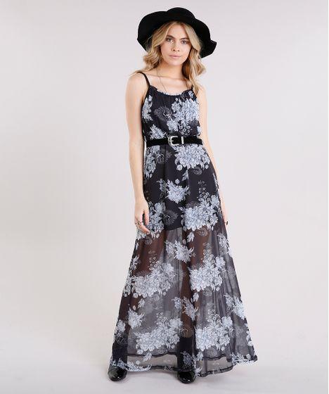 c2b8591fe Vestido Longo Feminino Estampado Floral em Tule de Alça Fina Preto - cea
