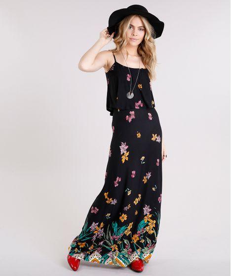 7270acf4a Vestido Longo Feminino Estampado Floral com Babado Alça Fina Preto