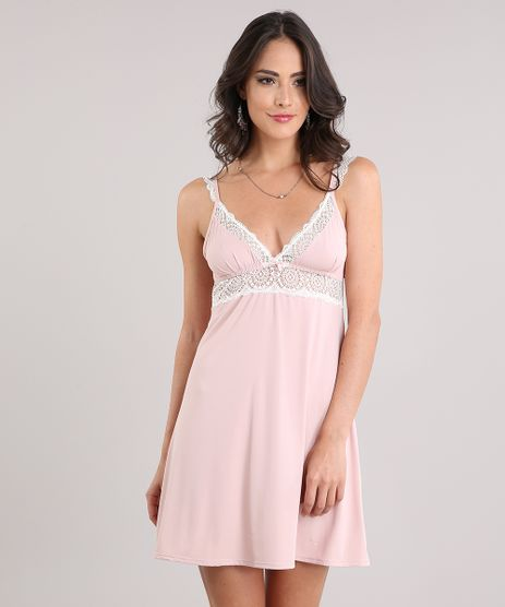 Camisola-Feminina-com-Renda-Alcas-Finas-Rose-9026622-Rose_1