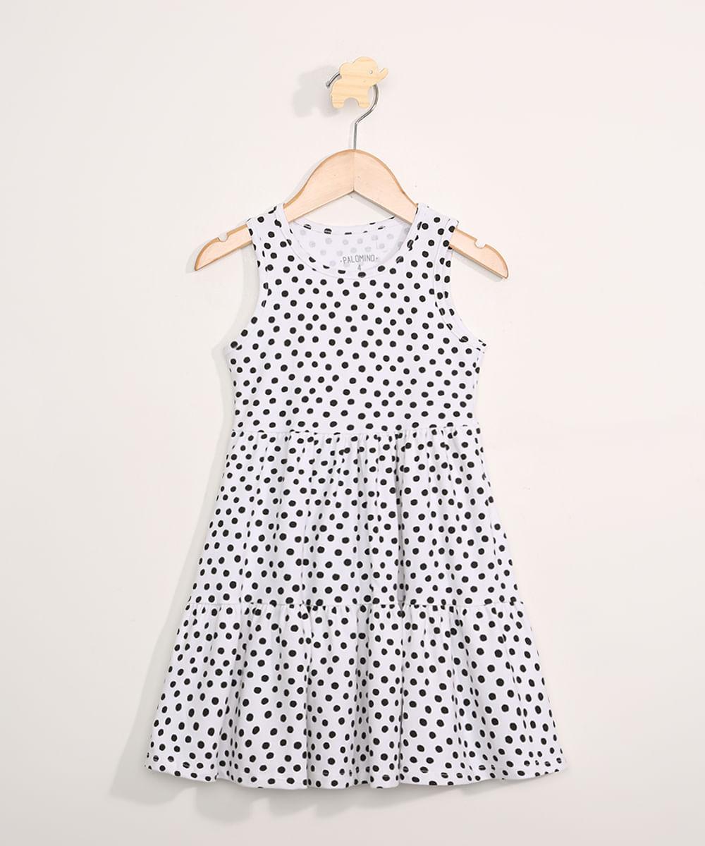 Vestido Infantil Básico Estampada Poá com Recortes Sem Manga Branco
