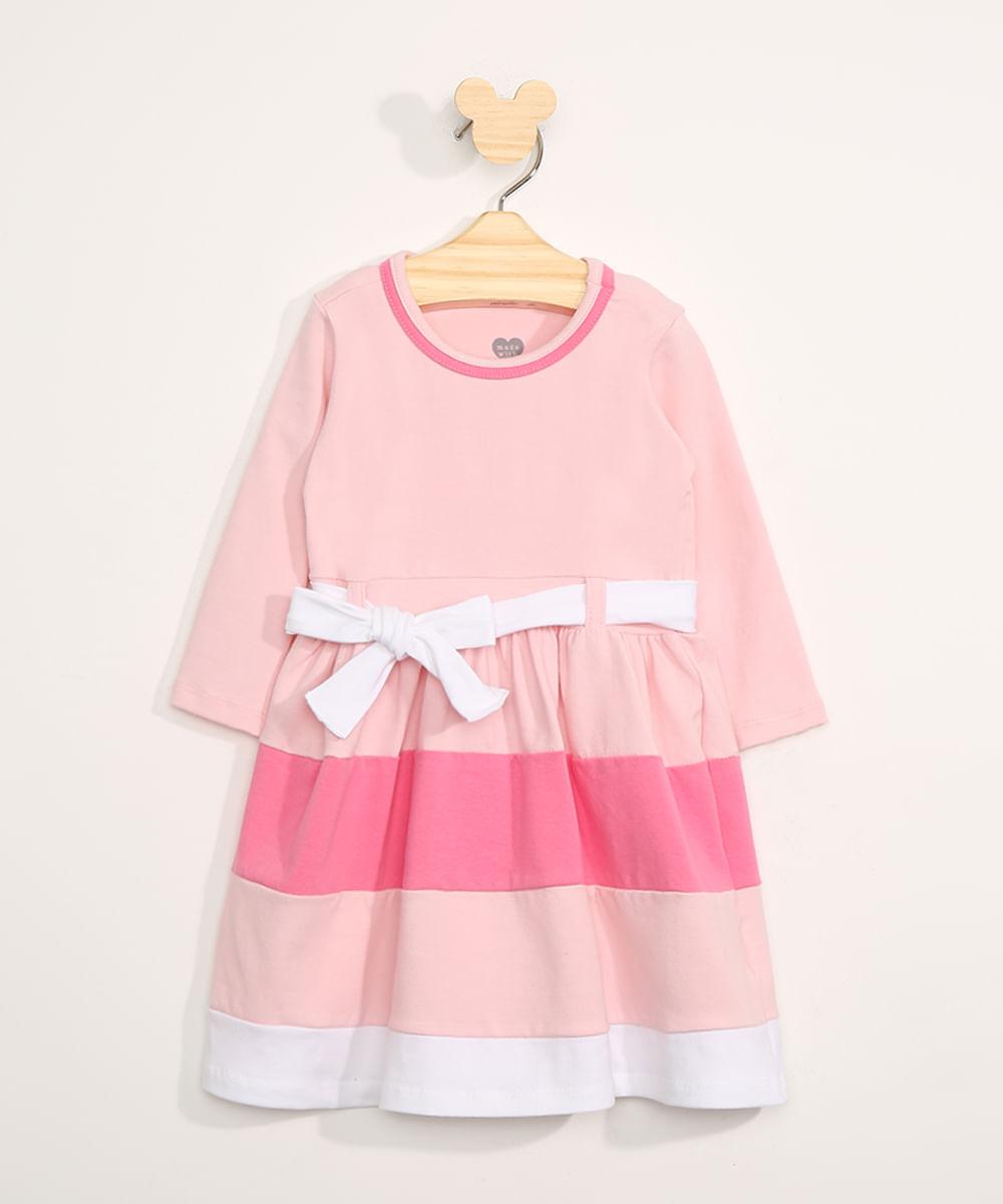 Vestido Infantil Manga Longa Listrado com Recortes e Faixa para Amarrar Rosa Claro
