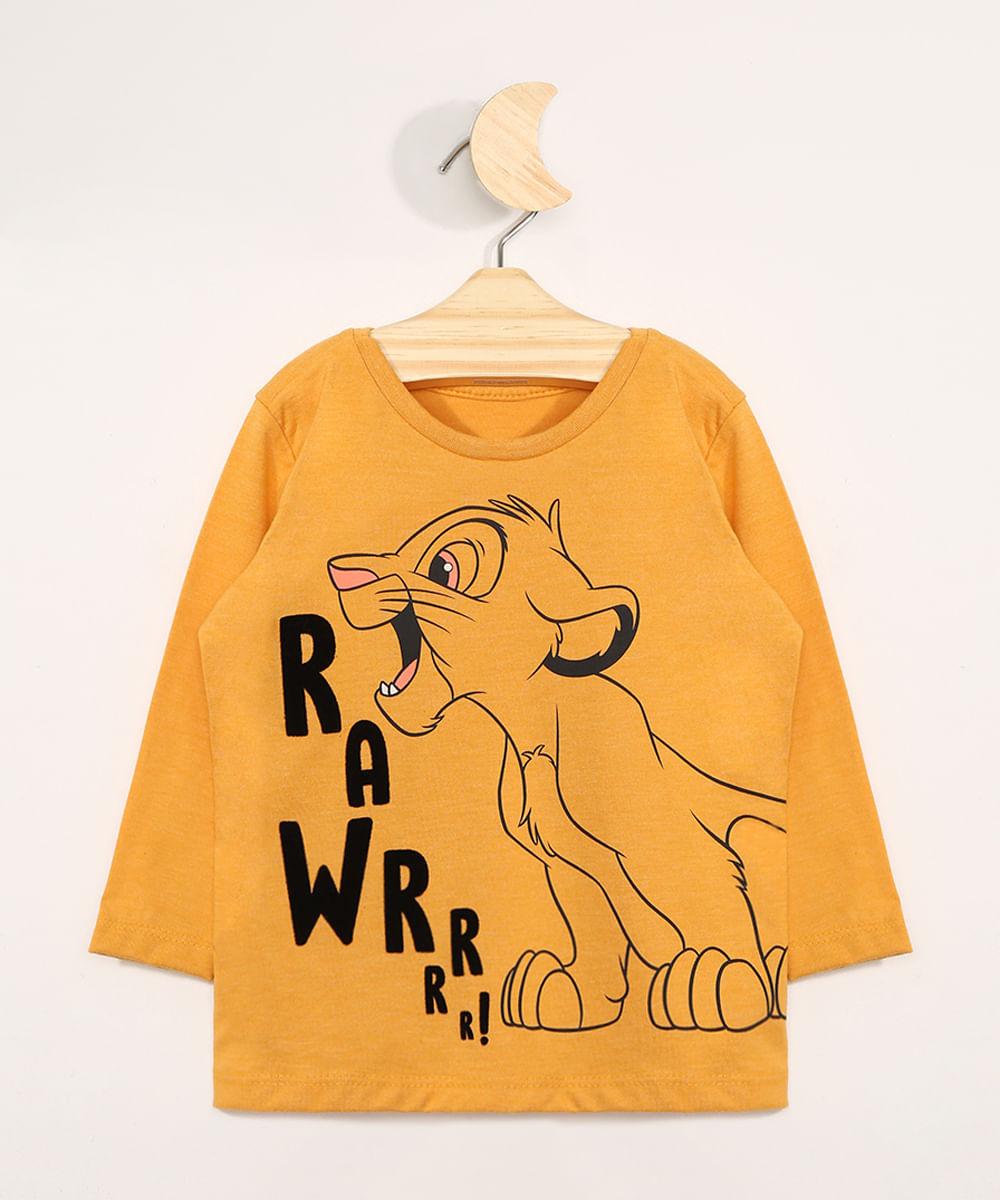 Camiseta Infantil Manga Longa Simba Flocada Gola Careca Mostarda