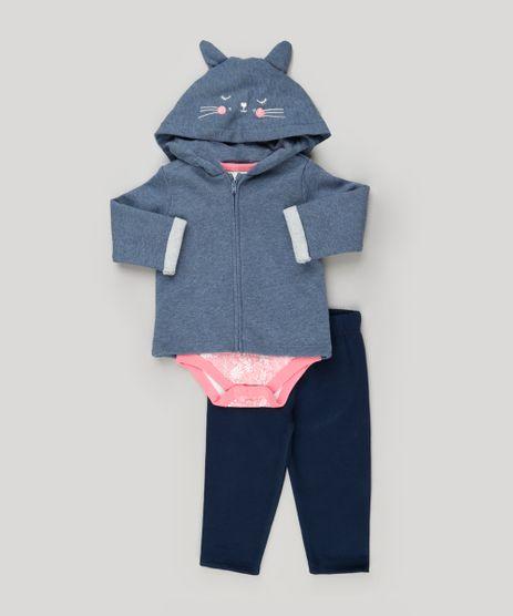 Conjunto-Infantil-de-Blusao-com-Capuz-de-Orelhinhas---Body-Estampado-Floral-Manga-Curta---Calca-em-Moletom-de-Algodao---Sustentavel-Azul-Marinho-8915308-Azul_Marinho_1