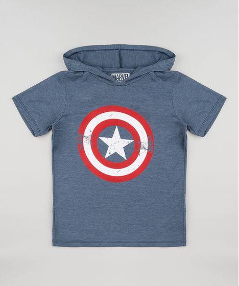 785aabb9a Camiseta Infantil Capitão América com Capuz Manga Curta Azul - cea