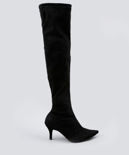 f0095b2e36fc72 Bota Feminina Over The Knee Bico Fino Vizzano em Suede Preta - cea