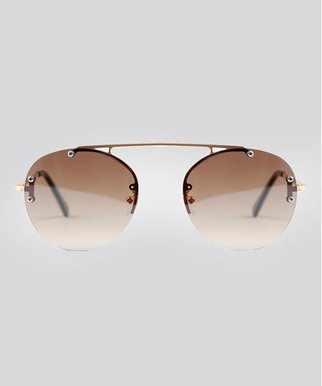 Oculos-de-Sol-Redondo-Feminino-Oneself-Dourado-9215402- 18539784ca