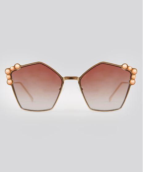 Oculos-de-Sol-Redondo-Feminino-Oneself-Dourado-9215405- e25160fbfa