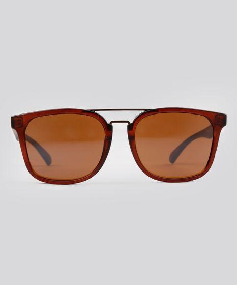 ec9bc3332 Óculos de Sol Quadrado Feminino Oneself Marrom Escuro - cea