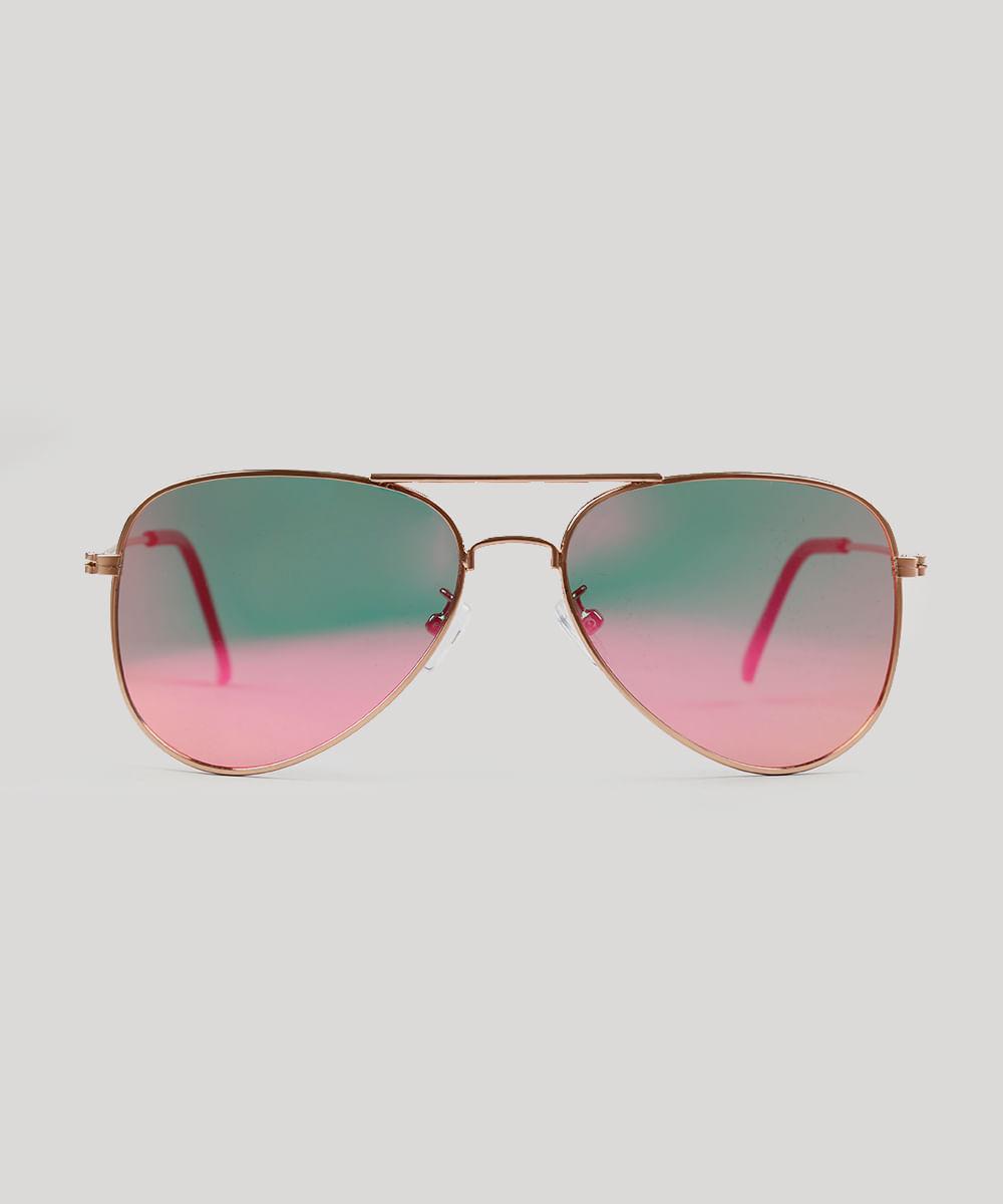 26dc8b680c029 ... Oculos-de-Sol-Aviador-Feminino-Oneself-Dourado-9224693-