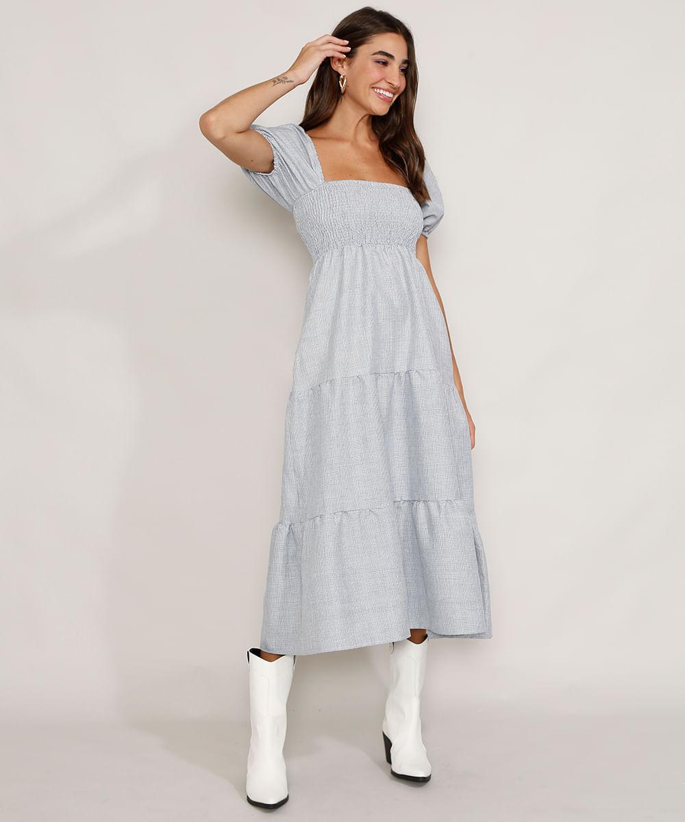 Vestido Feminino Midi Estampado Xadrez com Lastex e Recortes Manga Bufante Azul
