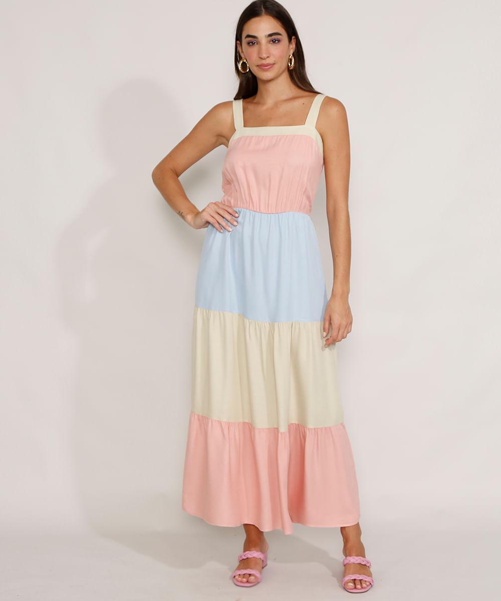 Vestido Feminino Longo com Recortes Alça Larga Multicor