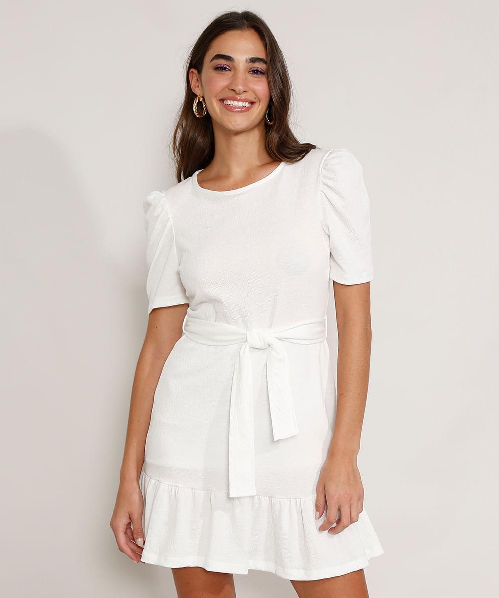 Vestido Feminino Curto Texturizado com Babado e Faixa para Amarrar Manga Bufante Off White