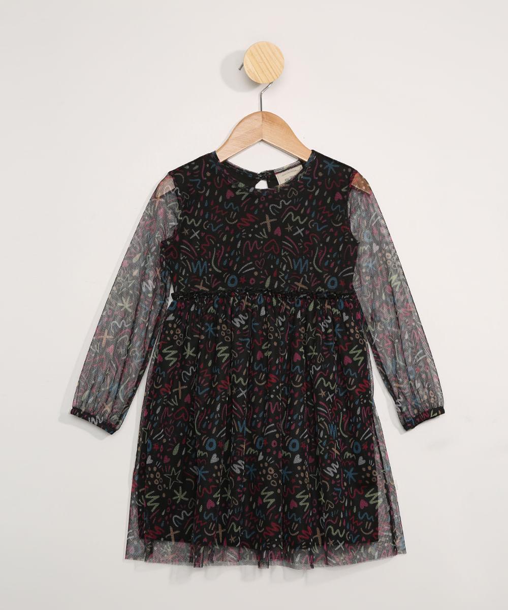 Vestido de Tule Infantil Manga Longa Estampado Rabiscos Preto