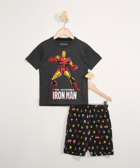 Pijama-Infantil-Manga-Curta-Homem-de-Ferro-Cinza-Mescla-Escuro-9983637-Cinza_Mescla_Escuro_1