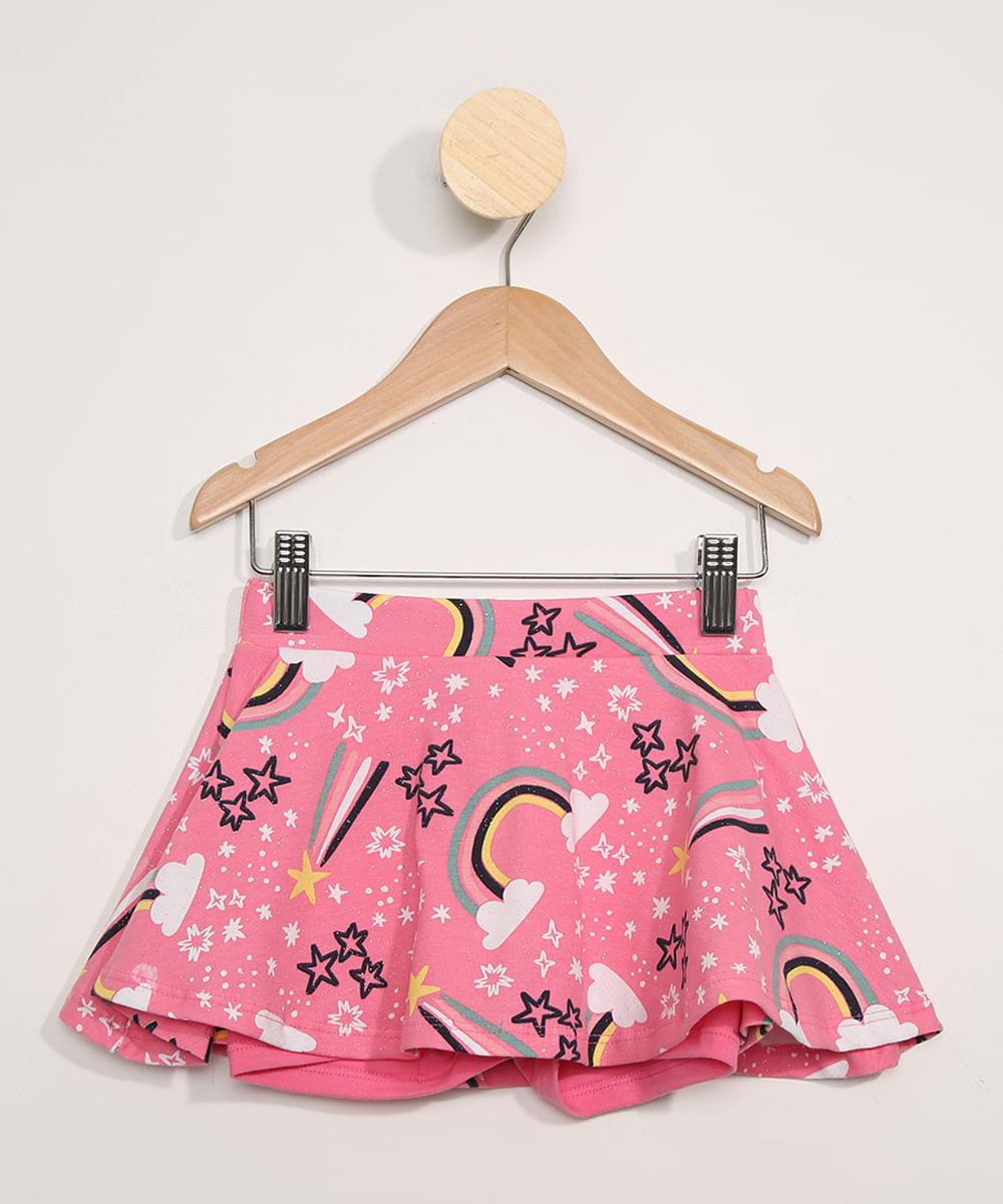 Short Saia Infantil Estampado Arco-Íris com Glitter Pink