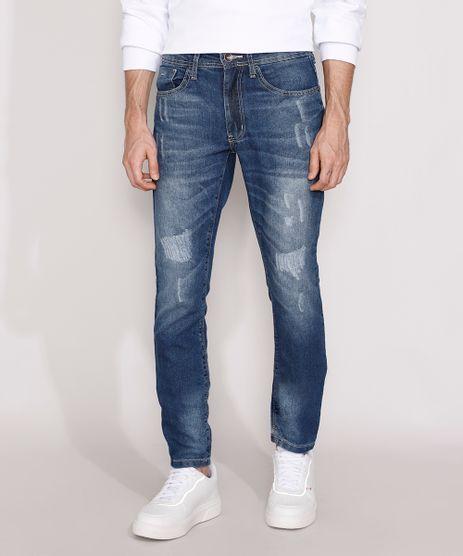 Calca-Jeans-Masculina-Slim-Destroyed-Azul-Medio-9982087-Azul_Medio_1