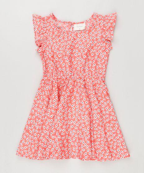 Vestido-Infantil-Estampado-Floral-com-Babado-Sem-Manga-Coral-8806511-Coral_1
