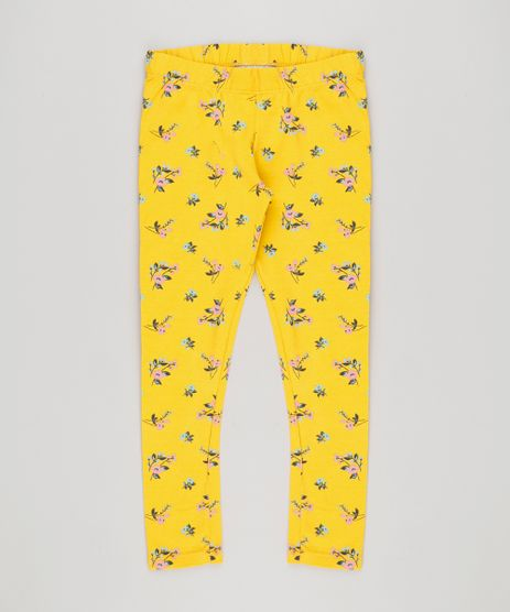 Calca-Legging-Infantil-Estampada-Floral-em-Algodao---Sustentavel-Amarela-9135818-Amarelo_1