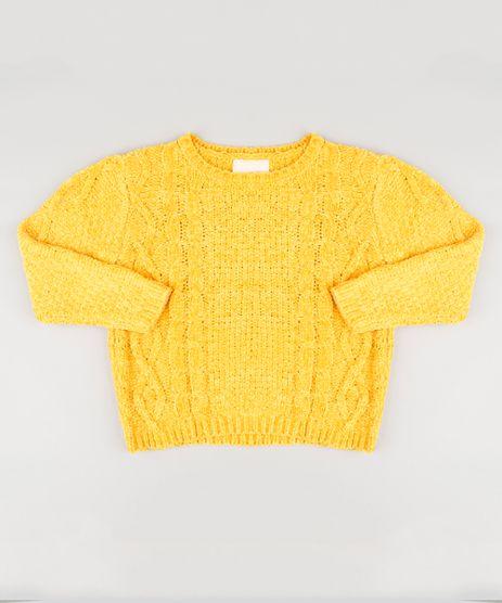 Sueter-Infantil-em-Trico-de-Chenille-Manga-Longa-Amarelo-8863292-Amarelo_1