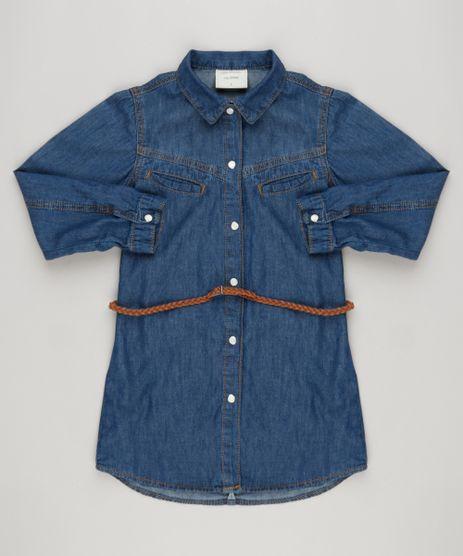 Vestido-Chemise-Jeans-Infantil-com-Cinto-Trancado-Azul-Escuro-9168806-Azul_Escuro_1