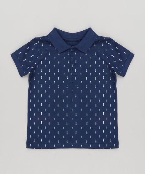Polo-Infantil-Estampada-de-Flechas-Manga-Curta-em-Piquet-de-Algodao---Sustentavel-Azul-Marinho-9168740-Azul_Marinho_1