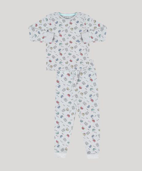 Pijama-Infantil-Estampado-de-Raposa-em-Moletom-Manga-Longa-Decote-Redondo-Cinza-Mescla-9133059-Cinza_Mescla_1