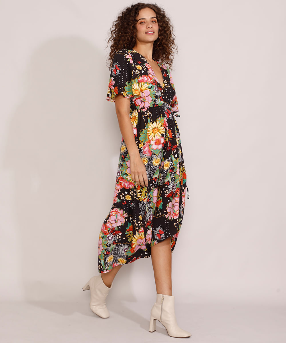 Vestido Feminino Midi Mullet Envelope Estampado Floral Manga Curta Ampla Preto