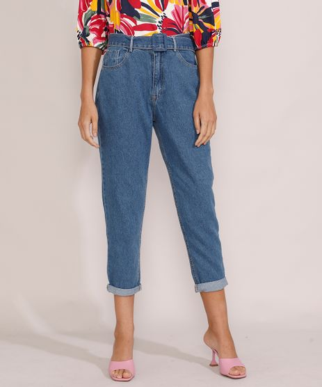 Calca-Jeans-Feminina-Mom-Cintura-Super-Alta-com-Cinto-Azul-Medio-9985311-Azul_Medio_1