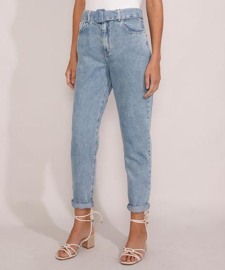 Calca-Jeans-Feminina-Mom-Cintura-Super-Alta-Marmorizada-com-Cinto-Azul-Claro-9985317-Azul_Claro_1