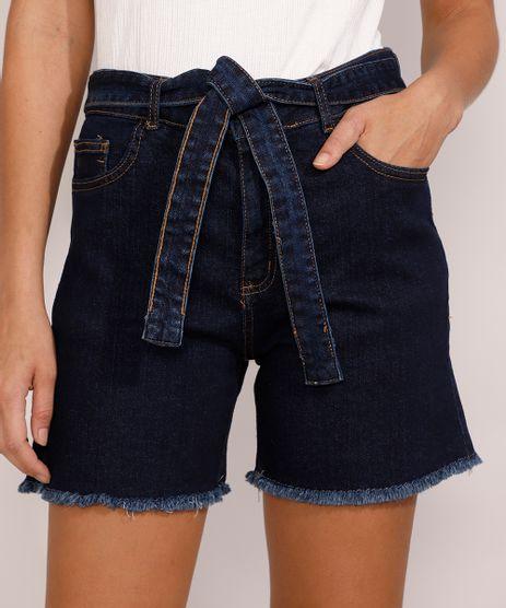 Bermuda-Jeans-Feminina-Cintura-Alta-com-Barra-Desfiada-e-Faixa-para-Amarrar-Azul-Escuro-9985647-Azul_Escuro_1